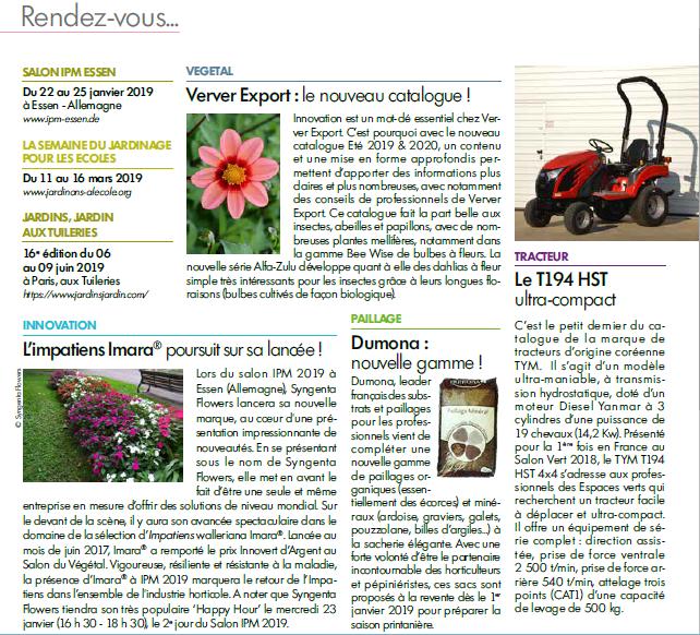 Les Cahiers du Fleurissement parlent de Dumona et sa gamme de paillage
