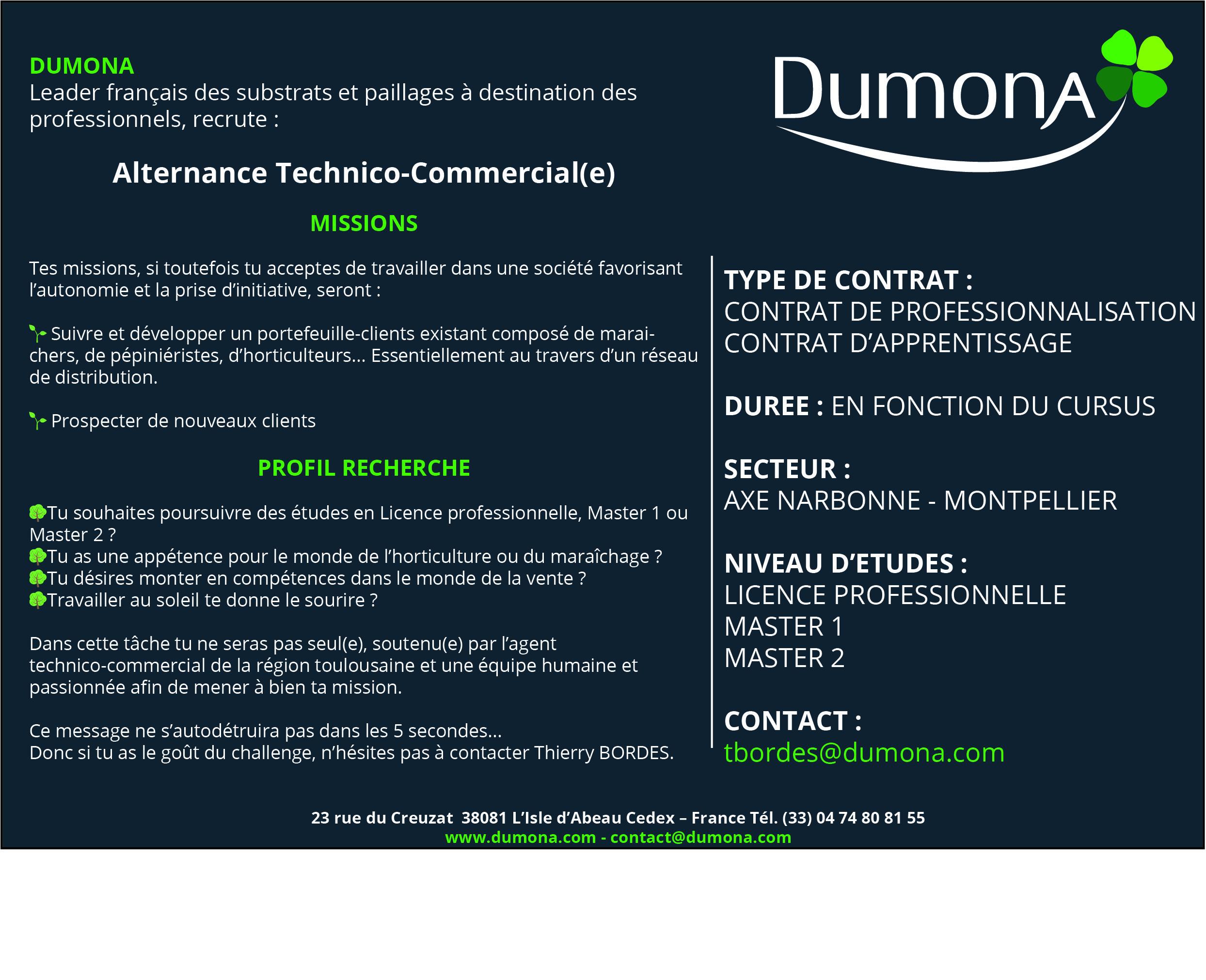 Dumona recrute un alternant Technico-Commercial